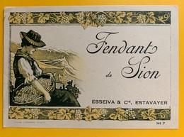 10740 - Fendant De Sion  Suisse Esseiva Estavayer Ancienne étiquette - Labels
