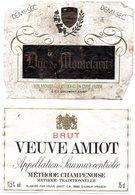 2 Etiquettes De Vin Mousseux  : Veuve Amiot Saumur Et Duc De Montelaritz Produit En Cuve Close - Champagne