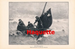 895 Haquette Rettungsboot Seenot Schiff Druck 1902 !! - Prints