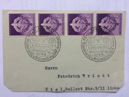 GERMANY 1942 Piece Armed Sports Day X 4 Stamps - Handstamps Llmenau `Standerkarte Kreiswaltung DAF Arnstadt` To Kiel - Lettres & Documents