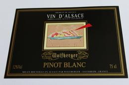 Etiquette De Vin Neuve Jamais Servie  VIN D ALSACE  PINOT BLANC  Wolfberger - White Wines