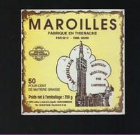 """Etiquette Fromage  Maroilles 50%mg Fabriqué En Thierache 02 H """" Beffroi"""" - Cheese"""