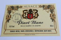 Etiquette De Vin Neuve Jamais Servie  VIN D ALSACE  PINOT BLANC   Charles Meyer - White Wines