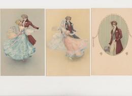 3 Cpa Fantaisie / Couple Dansant ; Jeune Homme /A La Gerbe D'or .Horlogerie , Bijouterie .D. AIGNAN . Provins (S.&M.) - Paare