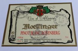 Etiquette De Vin Neuve Jamais Servie  VIN D ALSACE  PINOT BLANC  MOELLINGER - White Wines