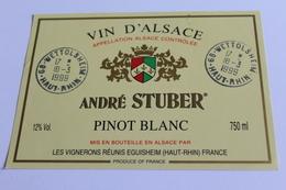 Etiquette De Vin Neuve Jamais Servie  VIN D ALSACE  PINOT BLANC   ANDRE STUBER - White Wines
