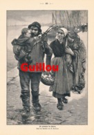 901 Guillou Heimkehr Des Vaters Fischer Fischerei  Druck 1898 !! - Prints