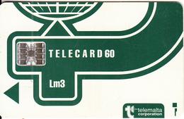 MALTA - Telecom Logo Lm 3(dark Green), CN : C4A146957, Chip SC7, 12/93, Used - Malte