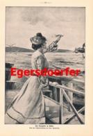 904 Egersdoerfer Dampfer Frau Am Steg Druck 1904 !! - Prints