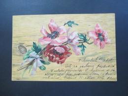 Österreich / Tschechien 1901 AK / Reliefkarte Blumengruß / Künstlerkarte Sennilech - Schlan - Briefe U. Dokumente