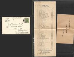 Malta, J.Magro, Stamp Dealer, Price List & Return Envelope, 1/2d,  VALLETTA MR 13 33 > U.S.A. - Malte (...-1964)