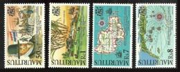 MAURITIUS 1998 SHIPS 400TH ANNIVERSARY OF DUTCH LANDING SET & M/SHEET MNH - Mauritius (1968-...)