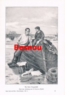 907 Besnou Fischer Küste Boot Schiffe  Druck 1905 !! - Prints