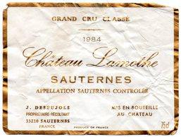 Etiquette (11,7X8,9) Château LAMOTHE 1984 Sauternes Grand Cru Classé J Despujols Propriétaire Récoltant à Sauternes 33 - Bordeaux