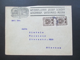 Österreich 1920 Wappenzeichnung Nr. 313 MeF Senkrechtes Paar Weinkellerei Josepf Schöpf Winzerhof Untermais Meran - 1918-1945 1. Republik