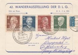 Allemagne Cachet Illustré Köln Ausstellung Sur Carte 1953 - Lettres & Documents