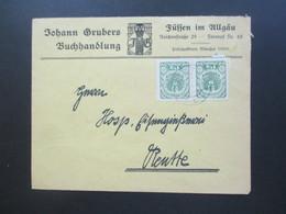 Österreich 1920 Wappenzeichnung Nr. 314 MeF Waagerechtes Paar Johann Grubers Buchhandlung Füssen Im Allgäu - 1918-1945 1. Republik