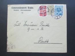 Österreich 1921 Wappenzeichnung Und Renner MiF Elektrizitätswerk Reutte Nordtirol Ueberlandzentrale Ortsbrief - 1918-1945 1. Republik