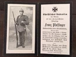 Sterbebild Wk1 Bidprentje Avis Décès Deathcard IR16 Flandern LANGEMARK 22. Oktober 1917 Aus Holzhausen - 1914-18