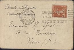 Enveloppe Chambre Des Députés Cabinet Des Questeurs CAD Paris 31 Chambre Des Députés 4 1 1933 YT 235 Semeuse Camée - Marcophilie (Lettres)