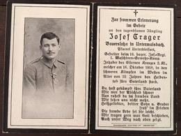 Sterbebild Wk1 Bidprentje Avis Décès Deathcard IR16 16. Oktober 1918 Aus Untermaisbach - 1914-18