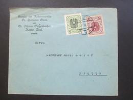 Österreich 1922 Wappenzeichnung MiF Nr. 316 Und 318 Kanzlei Der Rechtsanwälte Stern Und Sulzenbacher Reutte Tirol - 1918-1945 1ère République