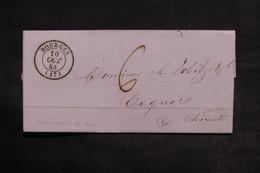FRANCE - Lettre De Bourges Pour Cognac En 1843  - L 33165 - Marcophilie (Lettres)