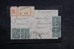 FRANCE - Enveloppe En Recommandé De Auxerre Pour Baume Les Dames En 1920 - L 33167 - Marcophilie (Lettres)