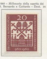 PIA - GERMANIA - 1960  : Millenario Della Nascita Di San Bernardo E Di San  Gottardo -   (Yv 209) - [7] République Fédérale