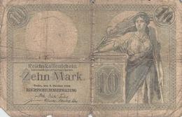 10 Mark Reichsbanknote VG/G (IV) - [ 2] 1871-1918 : Impero Tedesco