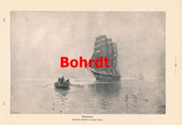 914 Hans Bohrdt Nebelsonne Ruderboot Segelboot Druck 1901 !! - Prints