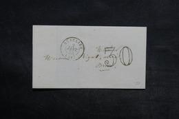 FRANCE - Lettre De Beaulieu Pour Brive En 1855 , Taxe D 'acheminement 30 Double Traits - L 33168 - Marcofilia (sobres)