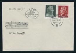 """ERSTTAGSBRIEF """"200 Geburtstag Mozart"""" Mit MiNr. 510 Und 511, Ersttagsstempel BERLIN W8 27. 1.56.-16 Ad - DDR"""