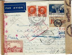 1943- Lettre RECC Par Avion Pour La TURQUIE De L'Expo Phil. De Paris + Vignette  - Affr. à 10 F. -double Censure - Postmark Collection (Covers)