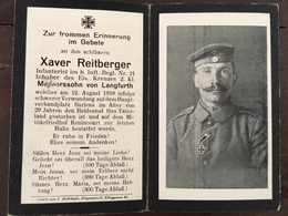 Sterbebild Wk1 Bidprentje Avis Décès Deathcard IR21 Barlens RENINCOURT  RANCOURT Block 4 Grab 692 Aus Langfurth - 1914-18