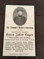 Sterbebild Wk1 Bidprentje Avis Décès Deathcard IR21 PRILEP 25. März 1917 Durch Sprengstücke Fliegerbombe Aus Tracking - 1914-18
