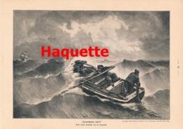 919 Haquette Lotsenkutter Seenot Ruderboot Druck 1901 !! - Prints