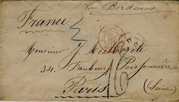 1866- Lettre Du Brésil Pour Bordeaux,entrée BRESIL 2 BORDEAUX 2 Rouge + Taxe 16 Tampon - Marcofilia (sobres)