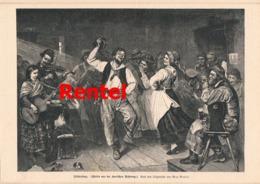 920 Max Rentel Fischertanz Kurische Nehrung Druck 1882 !! - Prints