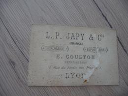 PUB Publicité Carte De Représentant E.Couston Horlogerie L.P.Japy Lyon En L'état Manque - Advertising