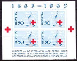 SWITZERLAND 1963 Red Cross Centenary Block 4 X 50 Yvert B 19 MH - Blokken