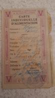 CARTE INDIVIDUELLE D'ALIMENTATION  LETTRE V ANNEE 1918 - 1914-18