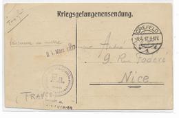 CAMP DE  CREFELD-KRIEGSGEFANGENSENDUNG 1.4.17 Avec F.A. Pour NICE Changement De Camp ELLWANGEN  WURTENBERG - Poststempel (Briefe)