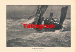 926 Tattegrain Kampf Mit Netzräuber Segelschiff Druck 1906 !! - Prints