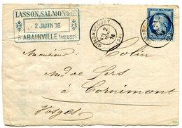 MEUSE De GONDRECOURT LAC Partielle Du 2/06/1876 Avec N°60 Oblitéré Par Dateur T 17 - Marcophilie (Lettres)