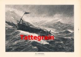 927 Tattegrain Schiffbrüchige Seenot Seenotrettung Druck 1906 !! - Prints