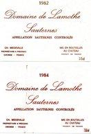 2 Etiquettes (12,7X9) Château De LAMOTHE 1984 (750ml) Et 1982 (375 Ml) Sauternes Ch Medeville Propriétaire à Preignac 33 - Bordeaux