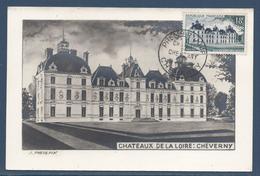 France Carte Maximum - Châteaux De La Loire - Cheverny - 1954 - Maximumkarten