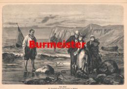 934 Burmeister Strandbild Segelschiff Druck 1878 !! - Prints