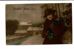 CPA - Carte Postale -Pays Bas-Gelukkig Nieuwjaar - Une Dame Dans Un Paysage D'hiver-  VM3905 - Nieuwjaar